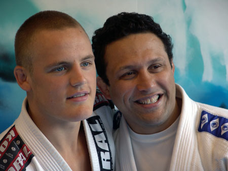 Gunnar Nelson (left) posing with mentor Renzo Gracie