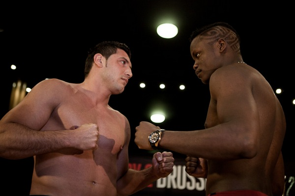 Brussels heavyweight opponents Ali Cenik (left) and Danyo Ilunga (right) will square off Saturday night at the biggest kickboxing event in Brussels history.