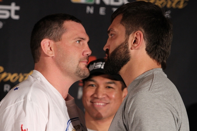 "Heavyweight stars Devin Cole (left) and Andrei ""The Pitbull"" Arlovski (right) will face off in the first-ever World Series of Fighting main event."