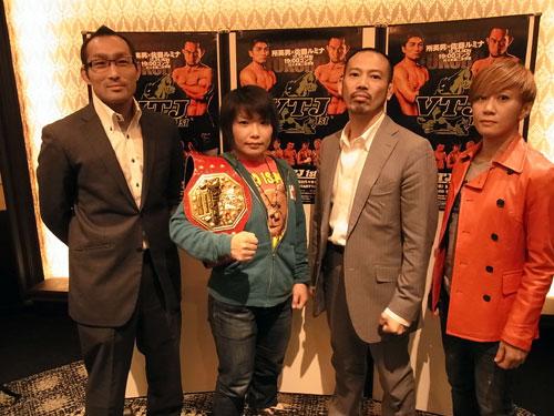 "At the press conference held in Tokyo. (From left to right) Nobutatsu Suzuki, ""V.V. Mei"" Yamaguchi, Sustain head Kazuhiro Sakamoto, and Megumi Fujii"