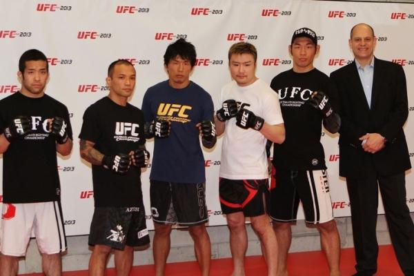 (from left to right) Issei Tamura, Norifumi KID Yamamoto, Takeya Mizugaki, Takanorio Gomi, Riki Fukuda, and Mark Fisher from Zuffa