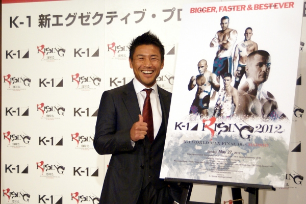 This is a photo from the press conference back in May 2012. Masato looked very happy announcing that he has taken the post of K-1 Executive Producer