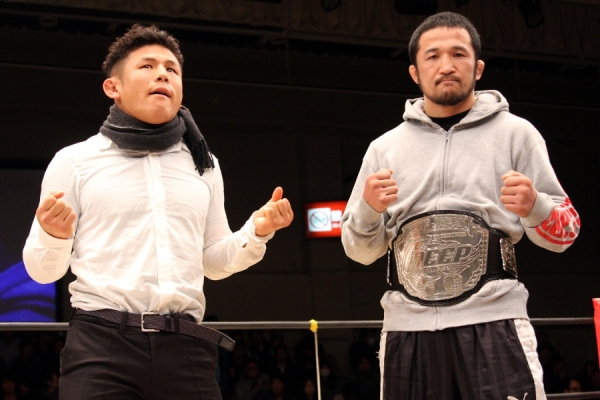 Daisuke Nakamura (right) and Satoru Kitaoka (left) at DEEP 61st Impact show held at Korakuen Hall this past Saturday
