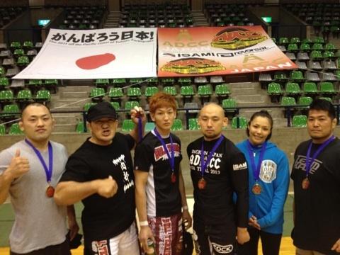 """Winners from ADCC Asia Trial 2013 (from left to right) Shinso Anzai, Yukiyasu Ozawa, Yuta """"Uruka"""" Sasaki, Sotaro Yamada, Seiko Yamamoto, Hideki Sekine"""