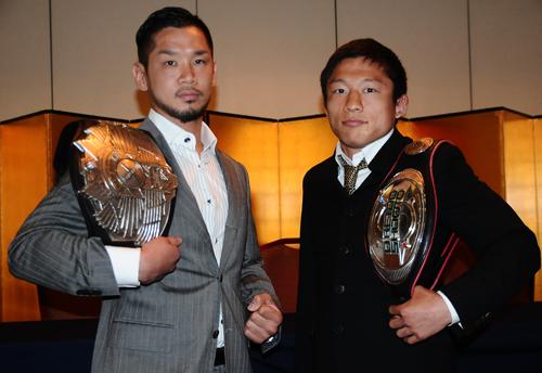 Shintaro Ishiwatari (left) and Kyoji Horiguchi (right) at the press conference held in Tokyo on Friday.