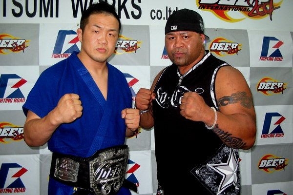 "Henry ""Sentoryu"" Miller (right) and Kazuhiro Nakamura (left) at the press conference held in DEEP dojo in Tokyo."