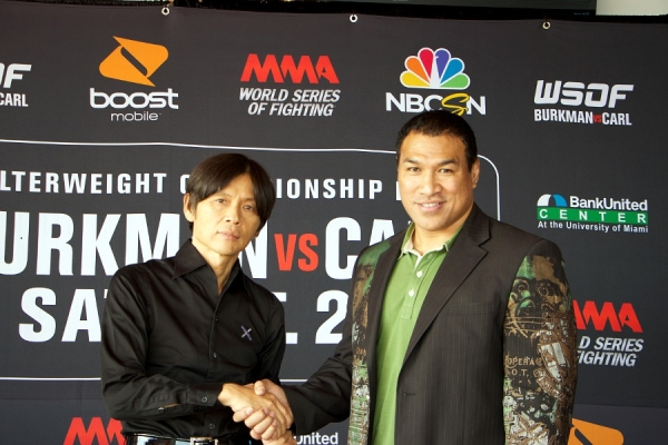 Pancrase owner Masakazu Sakai (left) with Ray Sefo (right), the head of Word Series of Fighting.