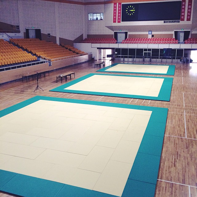 Mendes Bros's view of the mats, 3 large 33'x 33' mats. No one will escape: Tomorrow it's on!