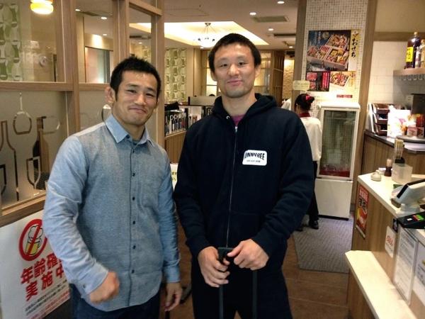 """UFC / Bellator vet Yoshiyuki """"Zenko"""" Yoshida and Bellator vet Hiroshi """"Iron"""" Nakamura in Tokyo."""