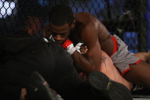 Aljamain Sterling with rear-naked choke