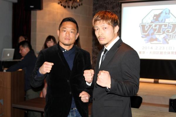 "Hiroyuki Takaya (left) and Yojiro Uchimura at the VJT press conference held last week at ""ICON"" in Shibuya, Tokyo."