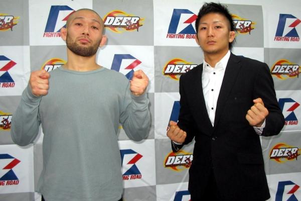 Masakazu Imanari (left) and Yuki Motoya (right) at the DEEP press conference held in Tokyo today.