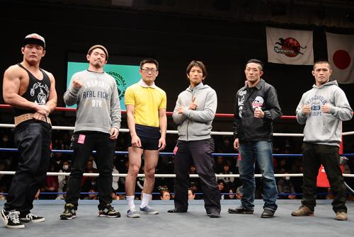 """(from left to right) Nobumitsu """"Tyson"""" Osawa, Daiki Tsuchiya, Nobita Naito, Yuki Shoujyou, Yuta Nezu, and Kota Onojima."""