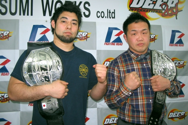 Kazuhiro Nakamura (right) and Ken Hasegwa (left) at the press conference held at DEEP official dojo IMPACT in Tokyo.