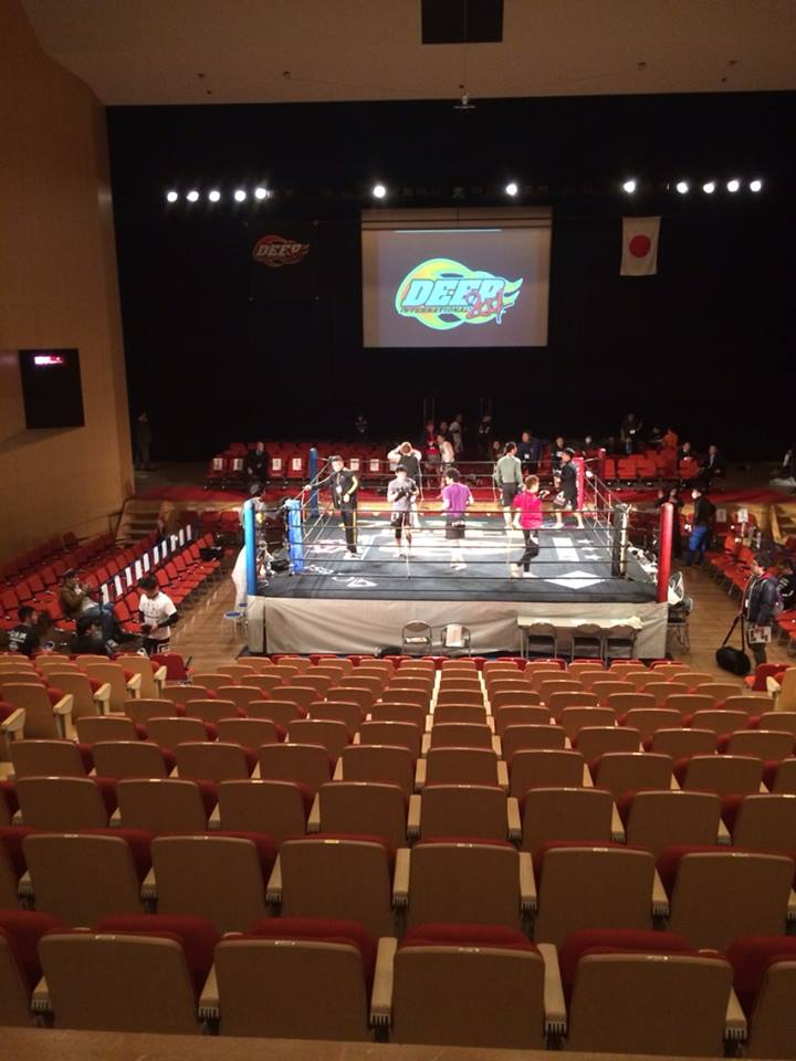 A photo of Abeno Ward Center just before doors opened to the fans. DEEP Osaka shows are still held in the ring instead of cage.