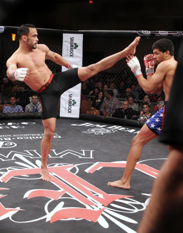"Featherweight Rob Font, left, will return to the cage Friday, April 25, 2014 against Canadian Tristan Johnson in the main event of ""CES MMA XXIII."" Font has won eight consecutive fights since his lone loss in 2012. (CES photo by Kelly MacDonald)"