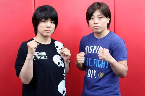 "Ayaka Hamasaki (right) and Naho ""Sugi Rock"" Sugiyama at the press conference held in Tokyo on Monday"