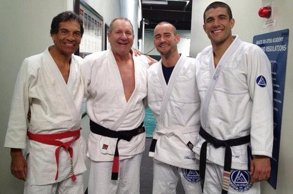 L-R: Rorion Gracie, Ed O'Neil, CM Punk and Rener Gracie