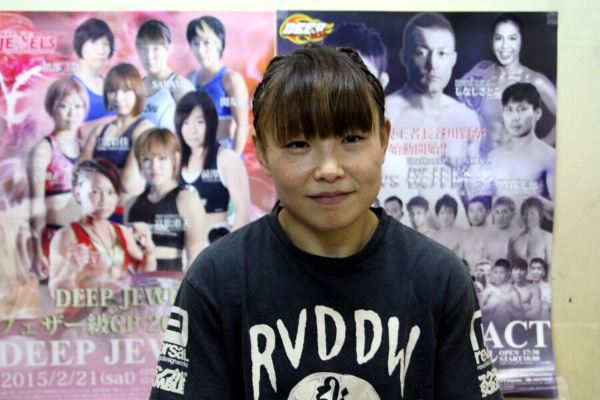 "After winning the opening round of DEEP JEWELS featherweight (105 lbs) tournament, Mei V.V. Yamaguchi said, ""There weren't too many fights today but I am so happy that so many people are here. I would like to ride on this momentum and get to the tournament final."""
