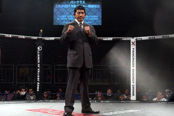 """Masakatsu Funaki stepped into the cage in Pancrase 265 (03/15) to announce that he is going to be the """"navigator"""" of Pancrase on TV Tokyo starting from this month"""