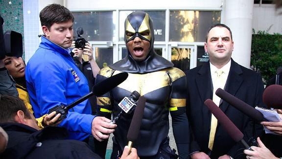 Ben Fodor dressed as superhero alter ego