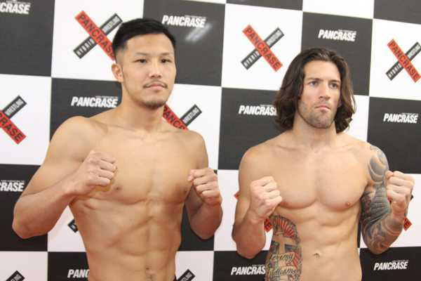 Kazuki Tokudome (left) and JJ Ambrose (right) at today's weigh-in
