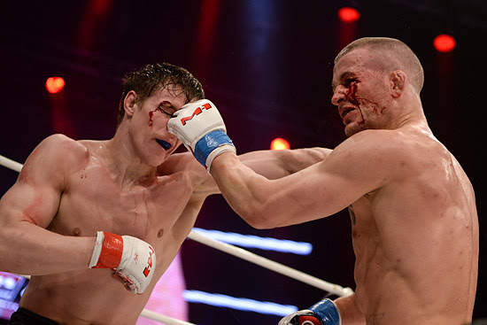 (L-R) Viktor Nemkov & Stephan Puetz from their first M-1 Challenge light heavyweight title fight