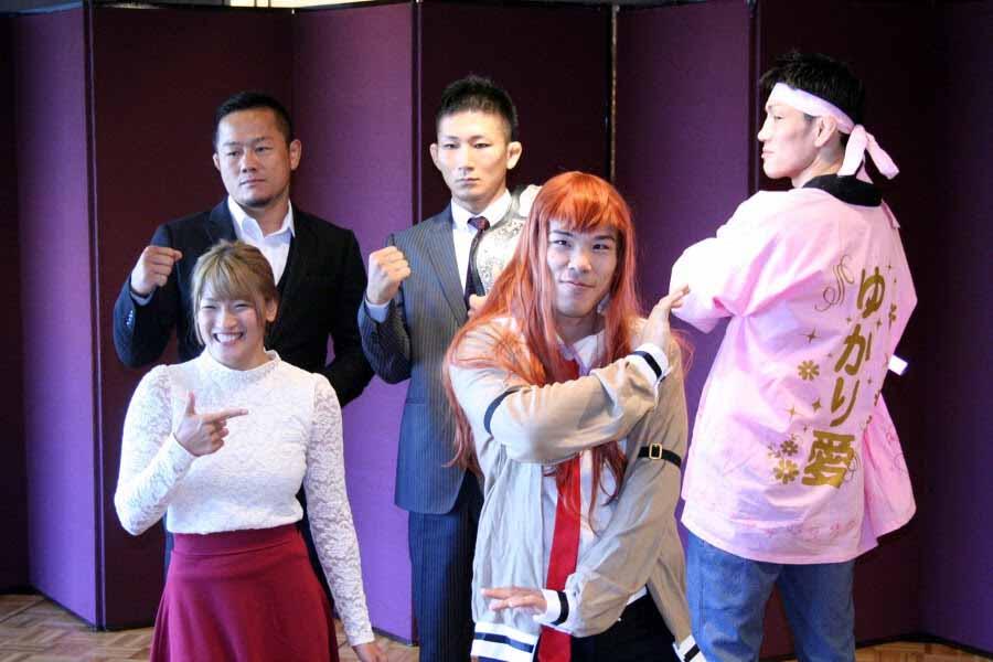 """(from left to right) REN and Yuichiro """"Jienotsu"""" Nagashima. (back from left to right) Hiroyuki Takaya, Yuki Motaya and DJ taiki."""