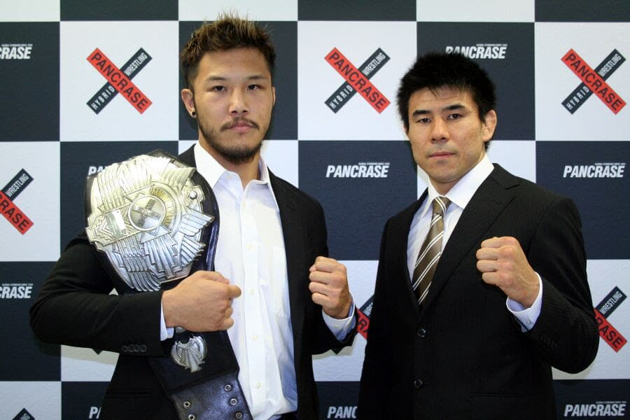 The headliner of Pancrase 280 is going to be a lightweight title fight between the champion Kazuku Tokudome (left) and the challenger Takasuke Kume